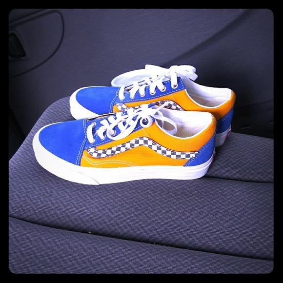 Vans Shoes   Yellow Blue Vans   Poshmark